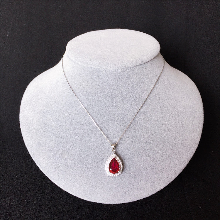 Red Ruby Pendant Vintage Hollow Pattern Real 925 Sterling Silver Necklace
