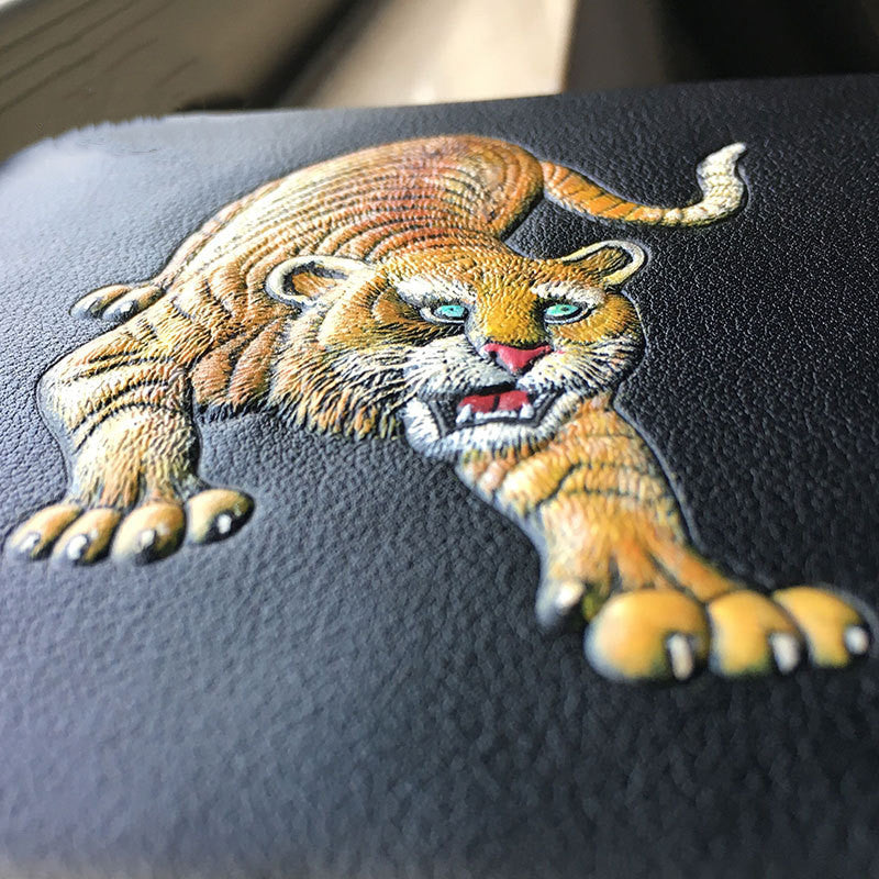 Vintage Carved Handmade Tiger Men's Wallet-Vertical