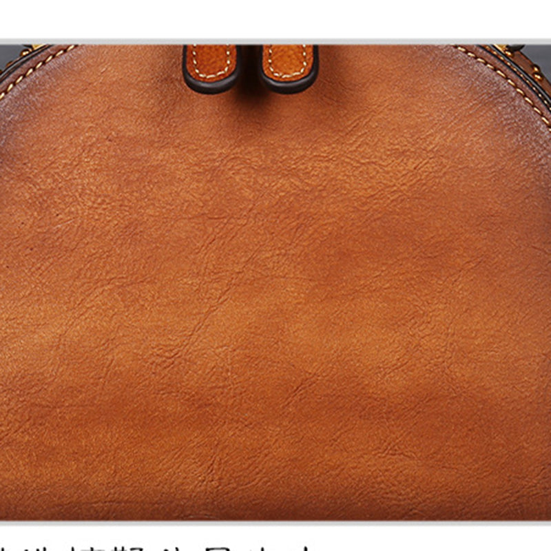 Genuine Leather Embossing Retro Handbag-Brown