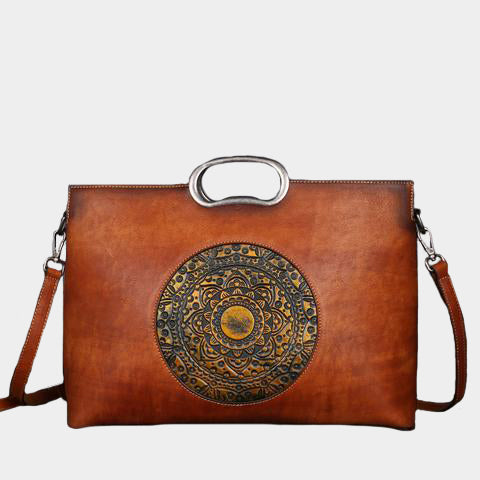 Large Capacity Genuine Leather Embossing Totem Square Handbag