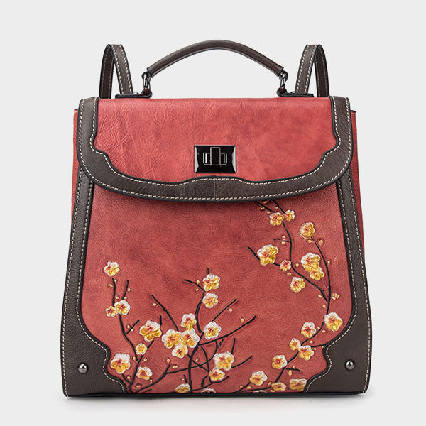 Plum Print Embossed Genuine Leather Retro Computer Backpack-Red