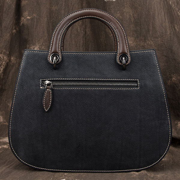 Large Capacity Engraved Symmetrical Embossed Genuine Leather Tote Bag-Black