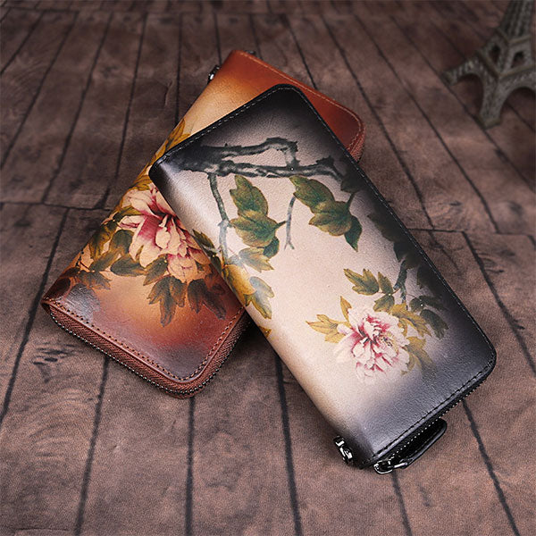 New Genuine Leather Hand-painted Vintage Clutch Zipper Wallet - Brown