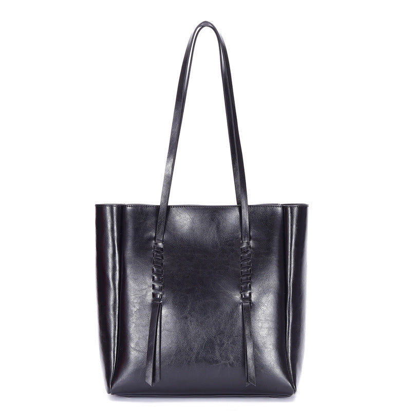 【NEW】Large Capacity Oil Waxed Genuine Leather Tote Bag-Black