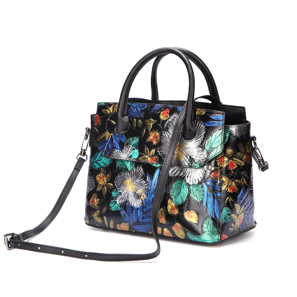 Butterfly Flowers Genuine Leather Messenger Bag