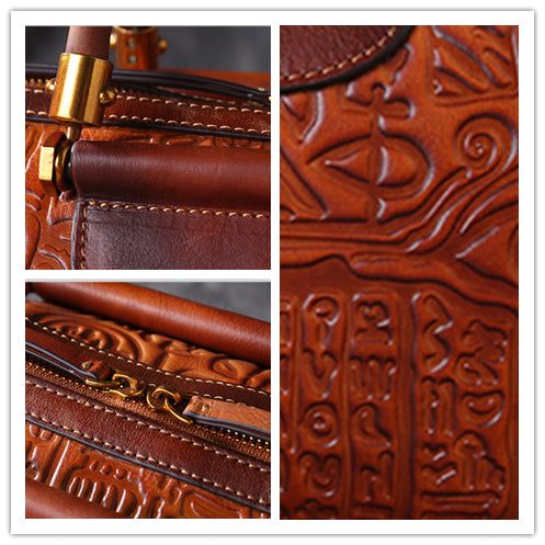 Pictograph Embossed Retro Genuine Leather Crossbody Bag-Brown