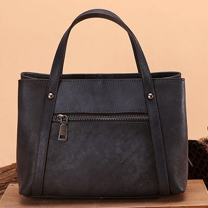 Handmade Genuine Leather Solid Handbag-Dark Gray
