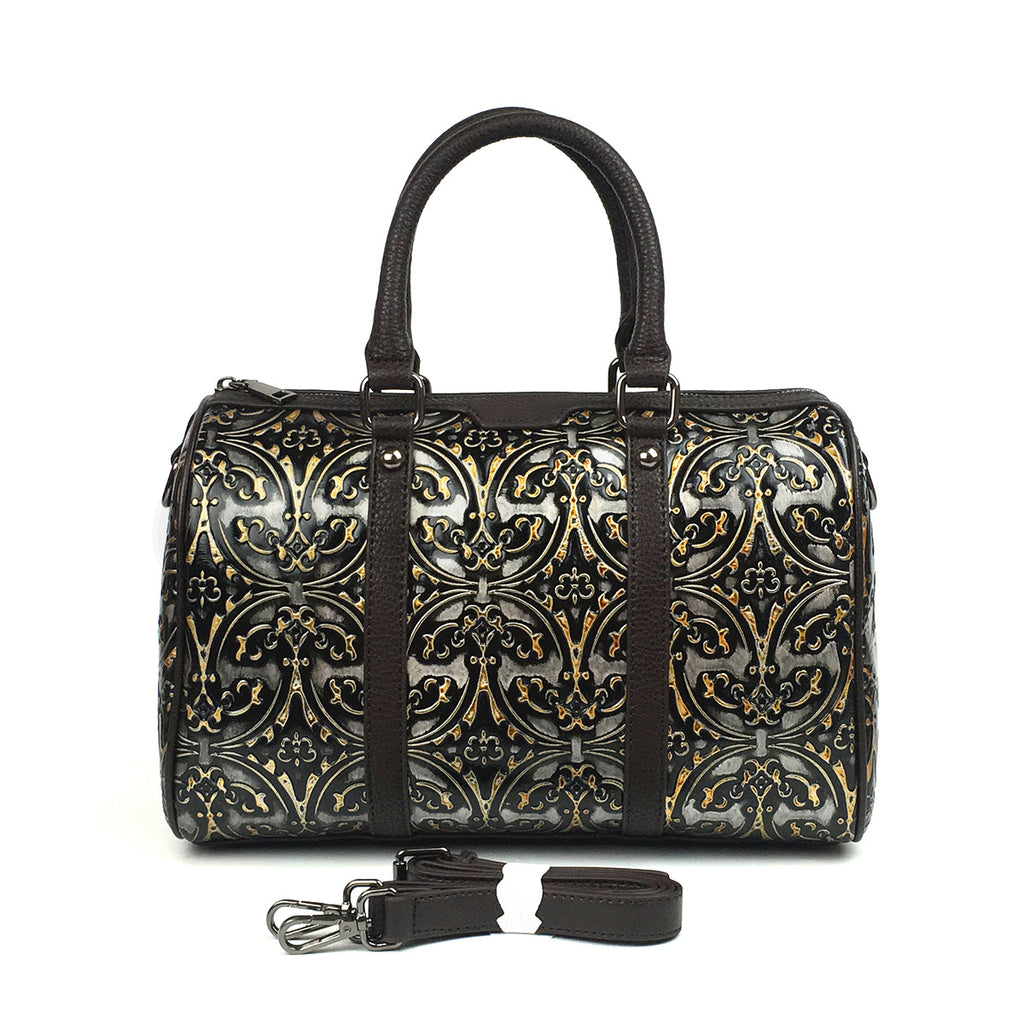 Retro Floral Genuine Leather Pillow Bag-Black