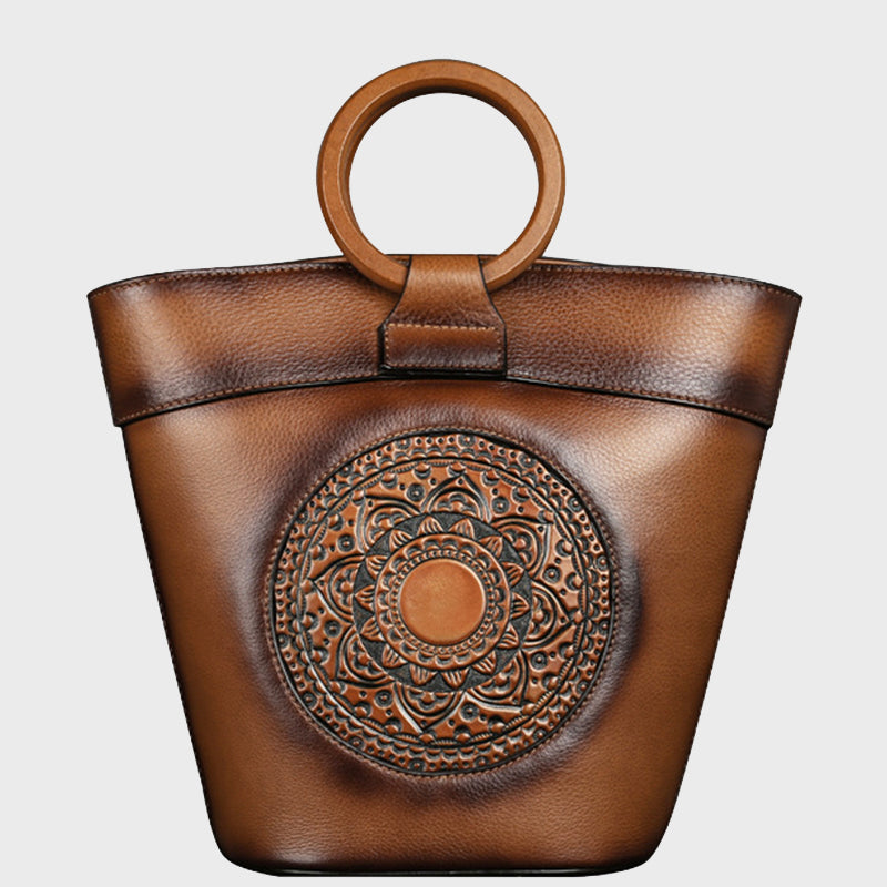 2020 New Retro Totem Embossed Genuine Leather Bucket Bag