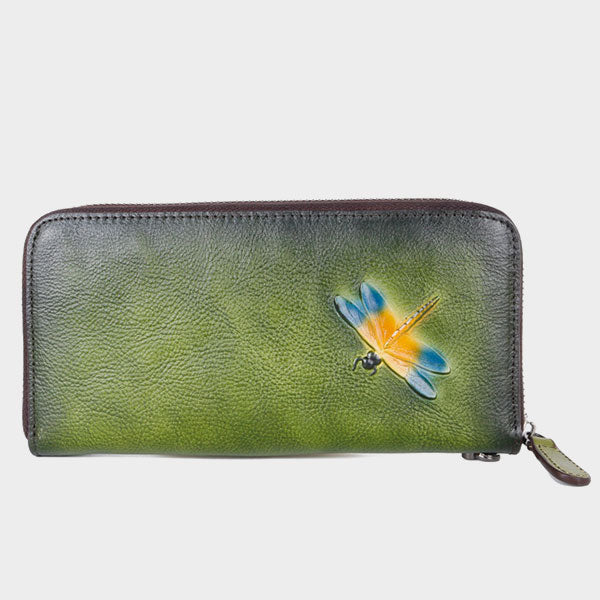 New Vintage Genuine Leather Leaf & Lotus Hand-Painted Carved Long Wallet-Green