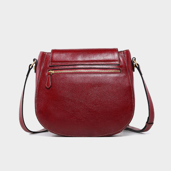 Genuine Leather Embossed Crossbody-Red