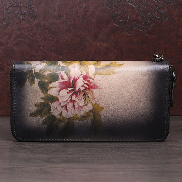 New Genuine Leather Hand-painted Vintage Clutch Zipper Wallet - Black
