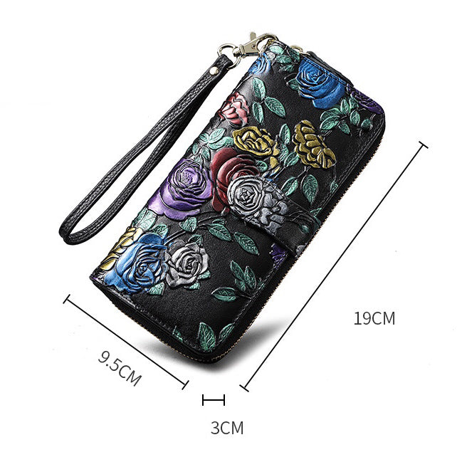 Flower Carving Long Leather Wallet