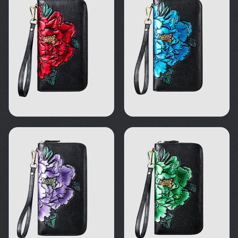 Peony Printed Long Leather Wallet