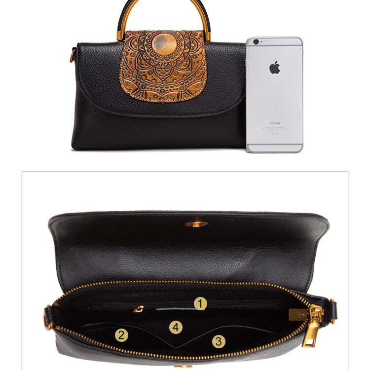 Vintage Leather Art Embossing Handbag-Black&Gold