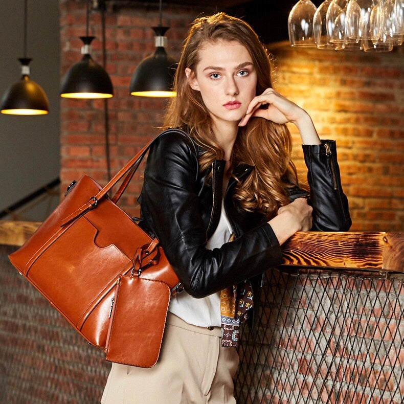 Simple Classic Tote Bag-Brown