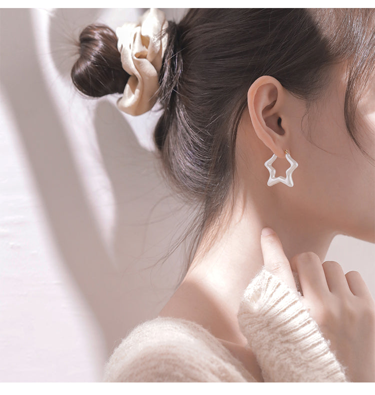 S925 Sterling Silver Star Earrings