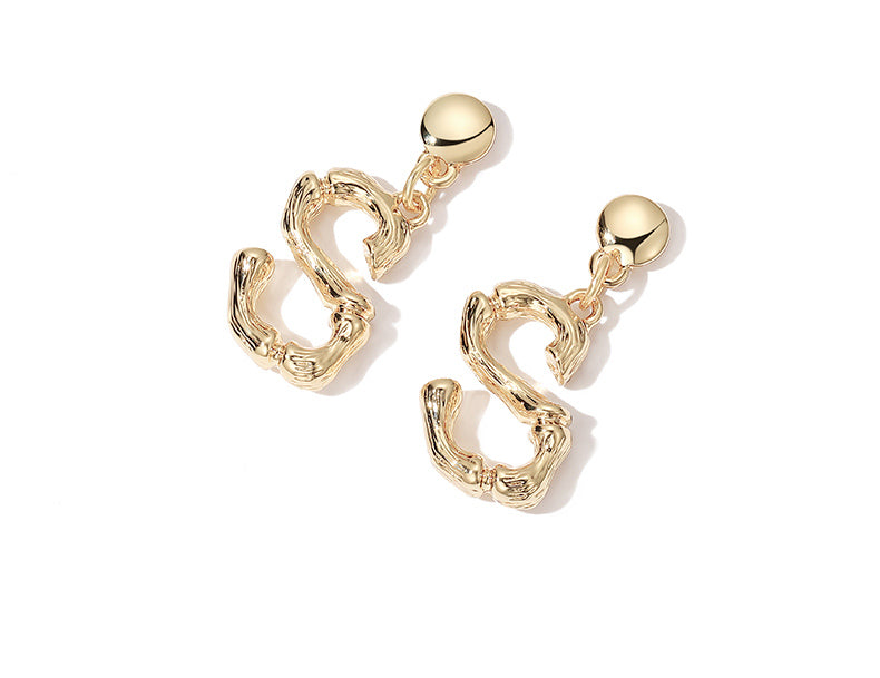 S925 Sterling Silver Fashion Letter Earrings
