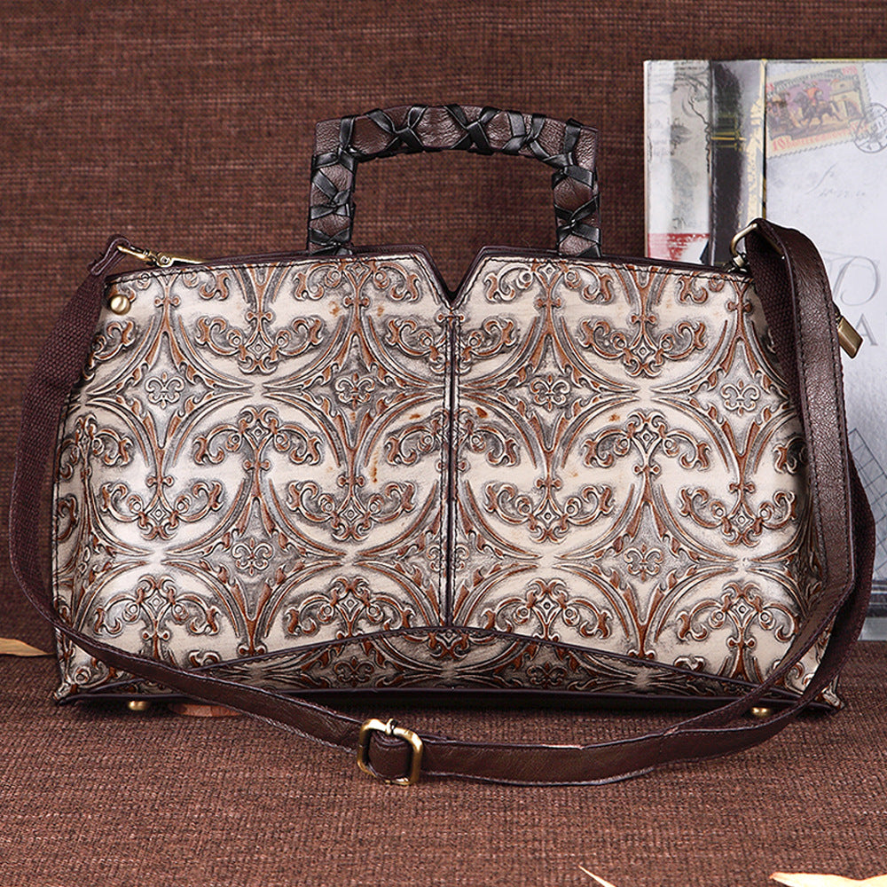 Limited Version Retro Floral Genuine Leather Crossbody Bag-Beige