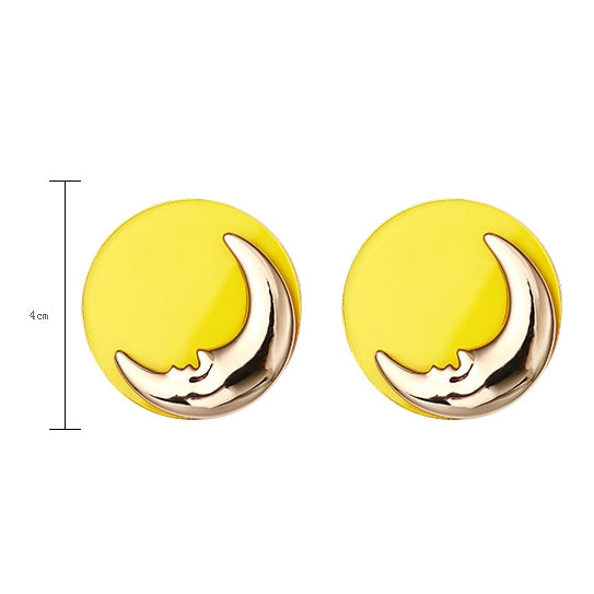 Fashion Style Alloy Moon Round Earrings