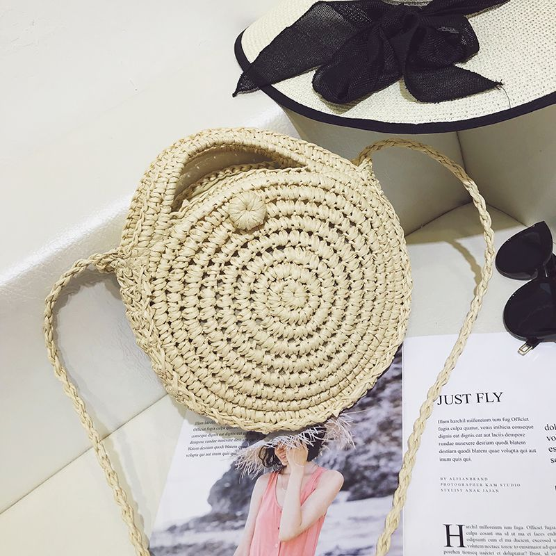 Round Straw Bag for Summer