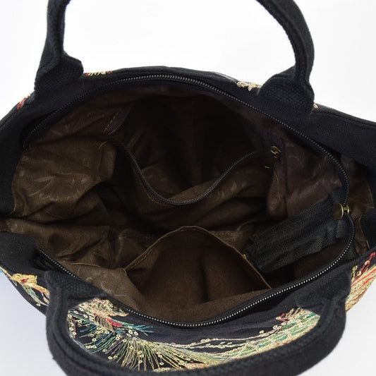 Peacock Embroidery Crossbody Bag