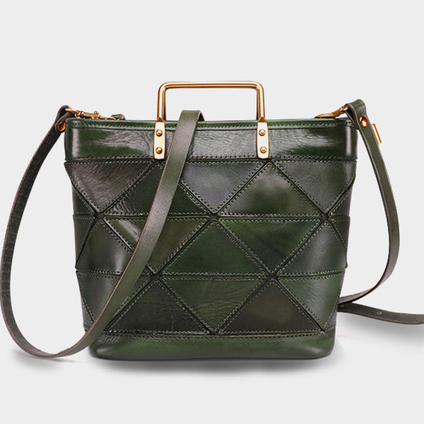 Retro Handmade Genuine Leather Crossbody Bag-Green