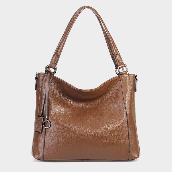 Genuine Leather Tote Bag-Khaki