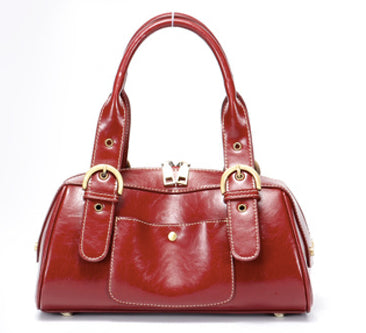 Retro Handmade Genuine Leather Handbag-Red