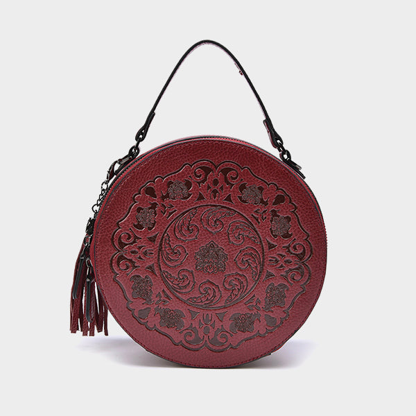 【BLACK FRIDAY】Round Carved Crossbody Bag-Red