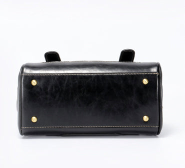 Retro Handmade Genuine Leather Handbag-Black