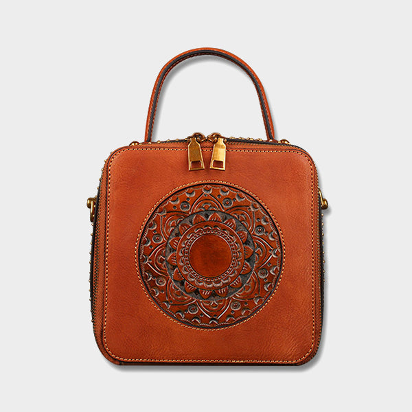 Retro Carved Crossbody Bag-Brown