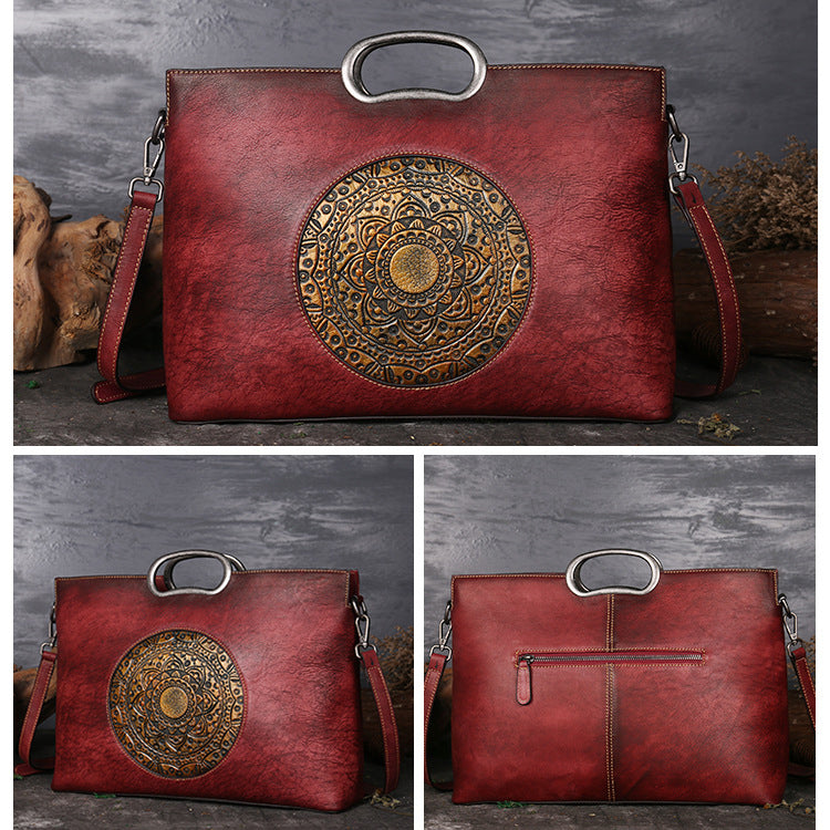 Large Capacity Genuine Leather Embossing Totem Square Handbag-Red bean paste