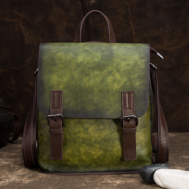 Vintage Handmade Brush-Off Color Fashion Trend Genuine Leather Backpack - Green