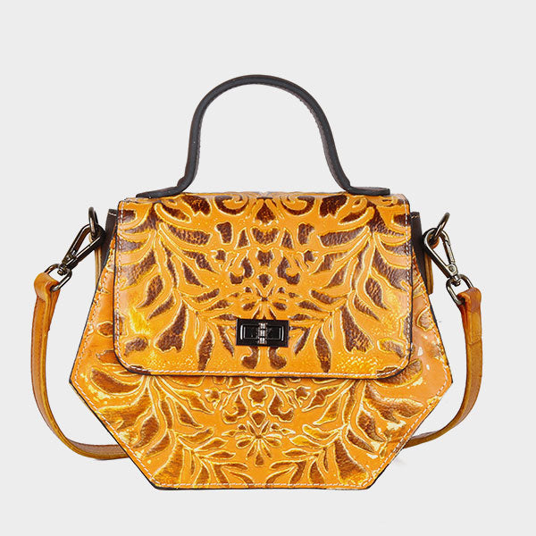 Vintage Flower Branch Embossed Shoulder Bag - Yellow