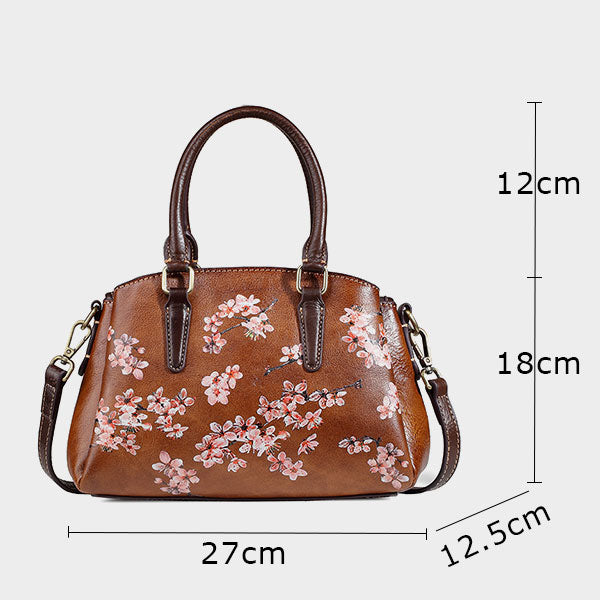 Plum Blossom Vintage Genuine Leisure Leather Handbag-Coffee