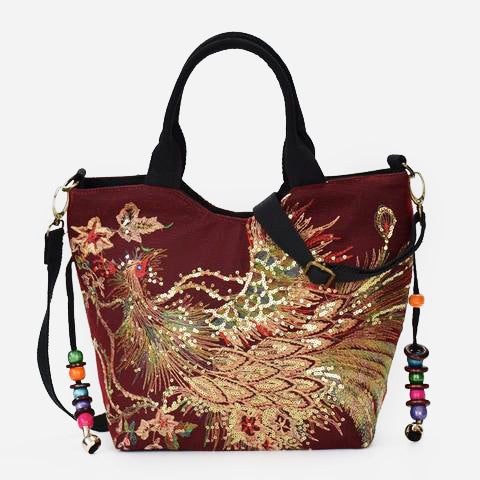 Peacock Embroidery Crossbody Bag-Red Wine
