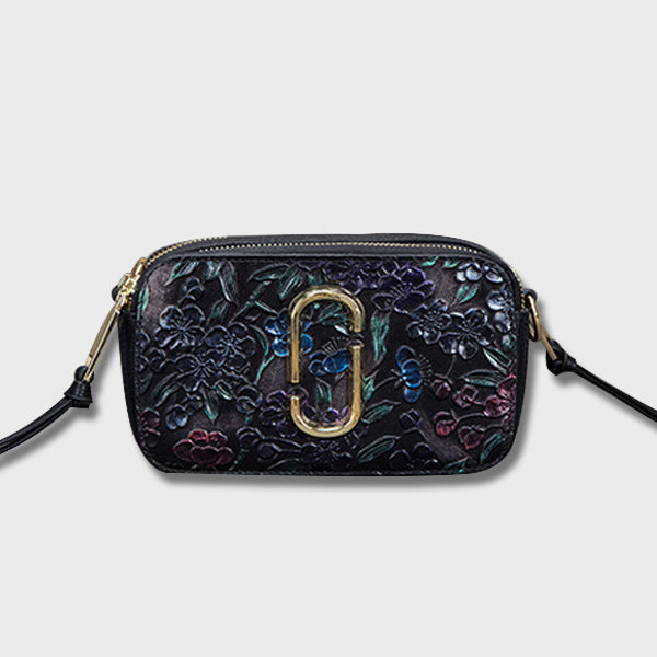 Retro Carving Genuine Leather Crossbody-Twilight Purple