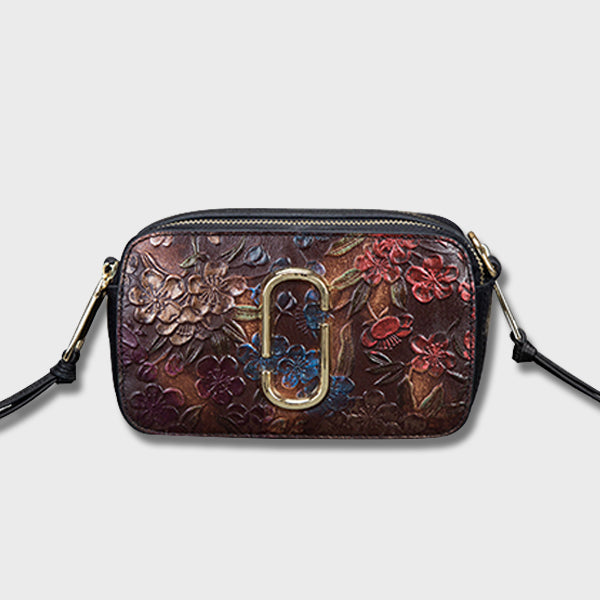 Retro Carving Genuine Leather Crossbody-Pomegranate Red