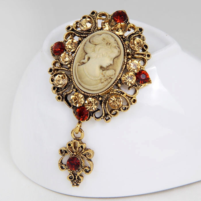 Vintage Lady Golden Brooch