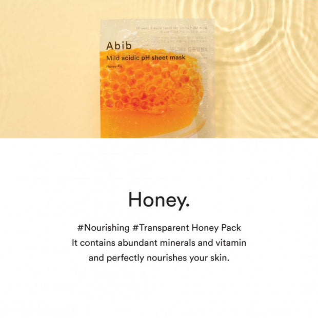 Mild Acidic pH Sheet Mask Pack Honey Fit 10p