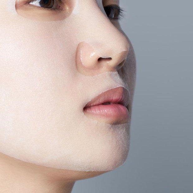 product on model's face