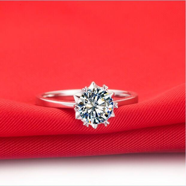 0.5Carat Pure 750 Gold Snow Flake Style Pretty CHARLES&COLVARD Moissanite Wedding Ring Gorgeous Female Engagement Ring Free Ship