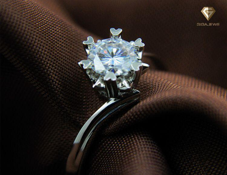 0.8Ct Round Moisanite Cut 3CT Engagement Rings Snowflake Ring