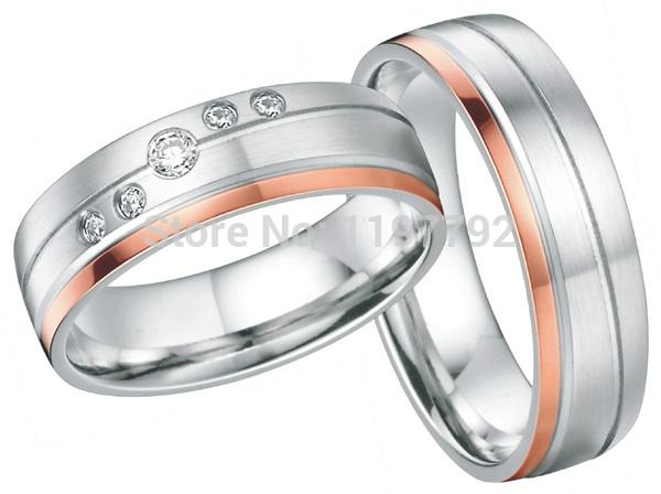 2014 Europe western designer  rose gold color heath wedding bands10 year anniversary rings gift sets for both men and women