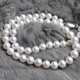 Eternal wedding Women necklace word 925  silver  The natural pearl necklace S925 8-9-10MM AAAA white silver clasp round