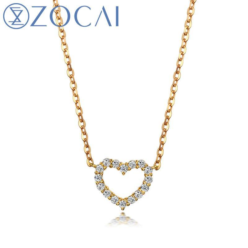 ZOCAI brand  0.26 CT CERTIFIED 18K rose gold heart shape DIAMOND Pendant  18K ROSE GOLD CHAIN Necklace Fine Jewelry D00509