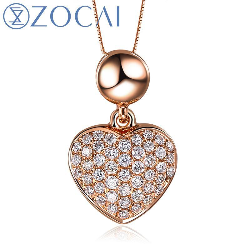 ZOCAI brand 0.23 CT CERTIFIED18K rose gold heart shape DIAMOND Pendant  + 925 STRLING SILVER CHAIN Necklace Fine Jewelry D03359