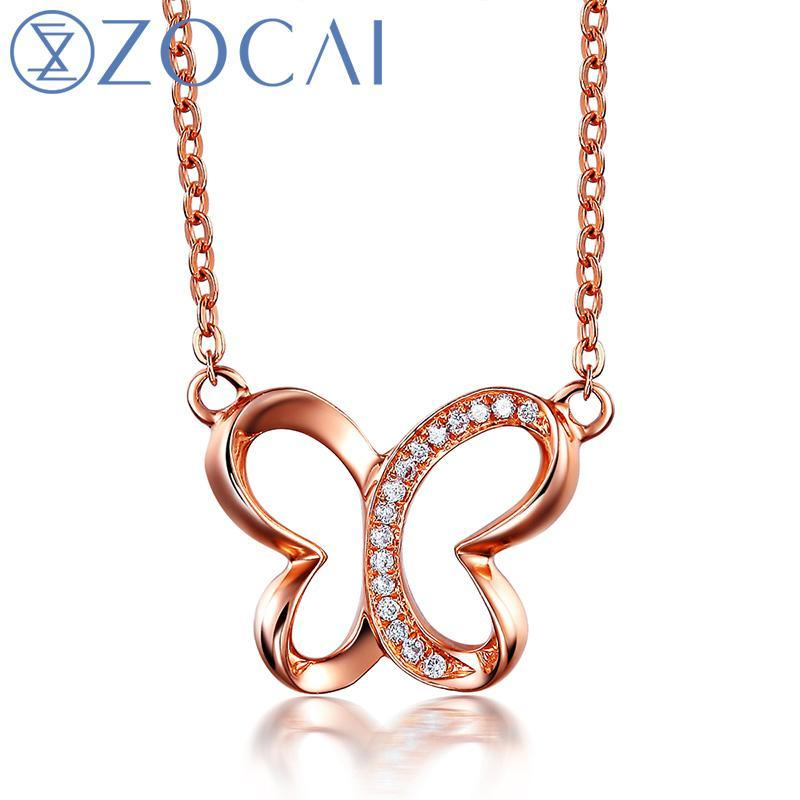 ZOCAI butterfly  0.03 ct natural genuine diamond 18K rose gold necklace 18K rose gold chain necklace fine jewelry D04734