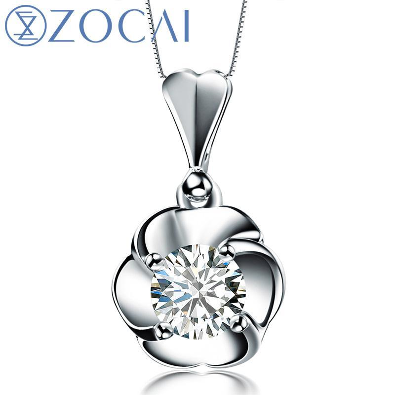 ZOCAI brand 0.28 CT CERTIFIED I-J / SI 18K white gold DIAMOND Pendant  925 STRLING SILVER CHAIN Necklace Fine Jewelry D00459